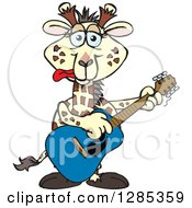 Clipart Of A Cartoon Happy Giraffe Playing An Acoustic Guitar Royalty Free Vector Illustration by Dennis Holmes Designs