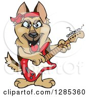 Clipart Of A Cartoon Happy German Shepherd Dog Playing An Electric Guitar Royalty Free Vector Illustration