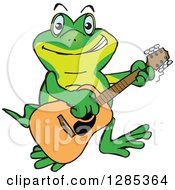 Clipart Of A Cartoon Happy Gecko Playing An Acoustic Guitar Royalty Free Vector Illustration by Dennis Holmes Designs