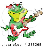 Clipart Of A Cartoon Happy Gecko Playing An Electric Guitar Royalty Free Vector Illustration by Dennis Holmes Designs