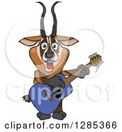 Clipart Of A Cartoon Happy Gazelle Playing An Acoustic Guitar Royalty Free Vector Illustration by Dennis Holmes Designs