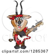 Clipart Of A Cartoon Happy Gazelle Playing An Electric Guitar Royalty Free Vector Illustration by Dennis Holmes Designs