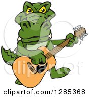 Clipart Of A Cartoon Happy Alligator Playing An Acoustic Guitar Royalty Free Vector Illustration by Dennis Holmes Designs