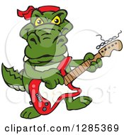 Clipart Of A Cartoon Happy Alligator Playing An Electric Guitar Royalty Free Vector Illustration by Dennis Holmes Designs