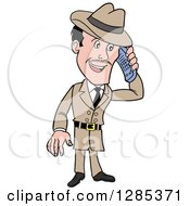 Clipart Of A Cartoon Caucasian Male Detective Talking On A Cell Phone Royalty Free Vector Illustration