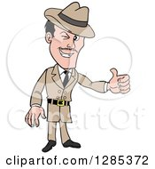 Cartoon Caucasian Male Detective Winking And Giving A Thumb Up