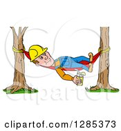 Cartoon Caucasian Male Craftsman Contractor Holding Lemonade And Resting On A Hammock