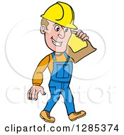 Clipart Of A Cartoon Caucasian Male Craftsman Contractor Carrying A Sand Bag Royalty Free Vector Illustration by LaffToon