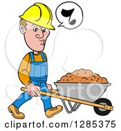 Cartoon Caucasian Male Craftsman Contractor Whistling And Pushing A Wheelbarrow Of Dirt