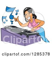 Clipart Of A Cartoon Smiling Black Female Dj Mixing Records And Pointing Royalty Free Vector Illustration by LaffToon