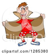 Cartoon Brunette Caucasian Male Love Flasher Showing A Shirt And Boxers