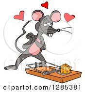 Cartoon Amorous Mouse Looking At Cheese On A Trap