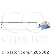 Cartoon Caucasian Male Pilot Waving And Flying An Aerial Plane Banner