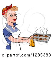 Clipart Of A Cartoon Retro Caucasian Woman Holding A Tray Of Hot Fresh Cookies Royalty Free Vector Illustration