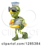 Clipart Of A 3d Tortoise Sailor Wearing Sunglasses And Walking To The Left In A Duck Inner Tube Royalty Free Illustration