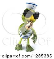Clipart Of A 3d Tortoise Sailor Wearing Sunglasses Walking And Eating An Ice Cream Cone Royalty Free Illustration