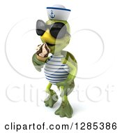 Clipart Of A 3d Tortoise Sailor Wearing Sunglasses Walking Slightly Left And Eating An Ice Cream Cone Royalty Free Illustration