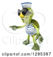 Clipart Of A 3d Tortoise Sailor Wearing Sunglasses And Pointing Royalty Free Illustration