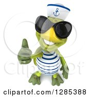Clipart Of A 3d Tortoise Sailor Wearing Sunglasses Smiling Upwards And Holding Up A Thumb Royalty Free Illustration