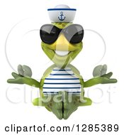 Clipart Of A 3d Tortoise Sailor Wearing Sunglasses And Meditating Royalty Free Illustration
