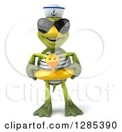 Clipart Of A 3d Tortoise Sailor Wearing Sunglasses And Standing In A Duck Inner Tube Royalty Free Illustration