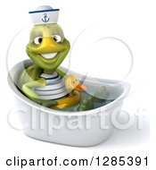 Clipart Of A 3d Tortoise Sailor Soaking In A Bath Tub With A Duck Inner Tube Royalty Free Illustration