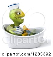 Clipart Of A 3d Tortoise Sailor Facing Right And Soaking In A Bath Tub With A Duck Inner Tube Royalty Free Illustration