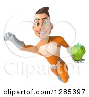 Clipart Of A 3d Young Brunette White Male Super Hero In An Orange Suit Flying Slightly Left And Holding A Green Bell Pepper Royalty Free Illustration