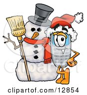 Wireless Cellular Telephone Mascot Cartoon Character With A Snowman On Christmas