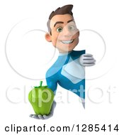 Clipart Of A 3d Young Brunette White Male Super Hero In A Blue Suit Holding A Green Bell Pepper Around A Sign Royalty Free Illustration