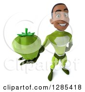 Clipart Of A 3d Young Black Male Super Hero In A Green Suit Holding Up A Green Bell Pepper Royalty Free Illustration