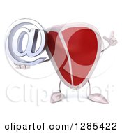 Clipart Of A 3d Beef Steak Character Holding Up A Finger And An Email Arobase At Symbol Royalty Free Illustration