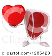 Clipart Of A 3d Beef Steak Character Holding And Pointing To A Heart Royalty Free Illustration