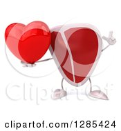 Clipart Of A 3d Beef Steak Character Holding Up A Finger And A Heart Royalty Free Illustration
