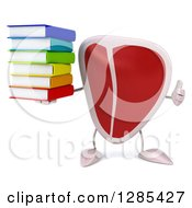 Clipart Of A 3d Beef Steak Character Holding A Thumb Up And Stack Of Books Royalty Free Illustration