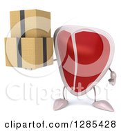 Clipart Of A 3d Beef Steak Character Holding Boxes Royalty Free Illustration