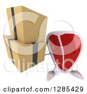 Clipart Of A 3d Beef Steak Character Holding Up Boxes Royalty Free Illustration
