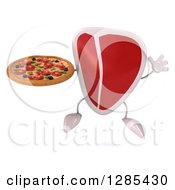 Clipart Of A 3d Beef Steak Character Jumping And Holding A Pizza Royalty Free Illustration