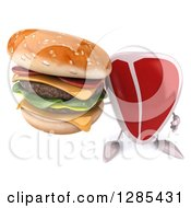 Clipart Of A 3d Beef Steak Character Holding Up A Double Cheeseburger Royalty Free Illustration