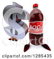 Clipart Of A 3d Soda Bottle Character Holding Up A Dollar Currency Symbol Royalty Free Illustration