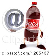 Clipart Of A 3d Soda Bottle Character Holding An Email Arobase At Symbol Royalty Free Illustration