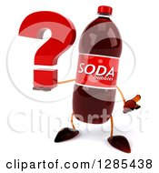 Clipart Of A 3d Soda Bottle Character Shrugging And Holding A Question Mark Royalty Free Illustration