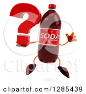Clipart Of A 3d Soda Bottle Character Jumping And Holding A Question Mark Royalty Free Illustration
