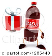 Clipart Of A 3d Soda Bottle Character Holding A Gift Royalty Free Illustration