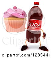 Clipart Of A 3d Soda Bottle Character Holding A Pink Frosted Cupcake Royalty Free Illustration