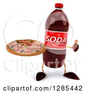 Clipart Of A 3d Soda Bottle Character Holding A Pizza And Thumb Up Royalty Free Illustration