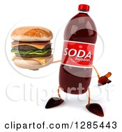 Clipart Of A 3d Soda Bottle Character Shrugging And Holding A Double Cheeseburger Royalty Free Illustration