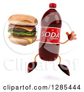 Clipart Of A 3d Soda Bottle Character Jumping And Holding A Double Cheeseburger Royalty Free Illustration