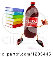 Clipart Of A 3d Soda Bottle Character Jumping And Holding A Stack Of Books Royalty Free Illustration