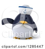 Clipart Of A 3d Sailor Penguin Presenting Royalty Free Illustration by Julos